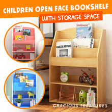 Open Face Bookshelf Kids Bookshelf Children Book Shelf with Large Capacity Storage Space Bookcase