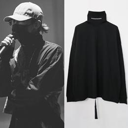 《送料無料》[UNISEX] BIGABANG/GD/g-dragon st. タートルネックロゴプリントロングスリーブシャツ