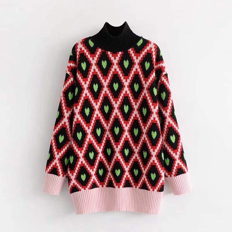 2017冬の新型、ハイネックは、ゆったりとした、両面のジャカード、愛心、セーター、厚手、ニット