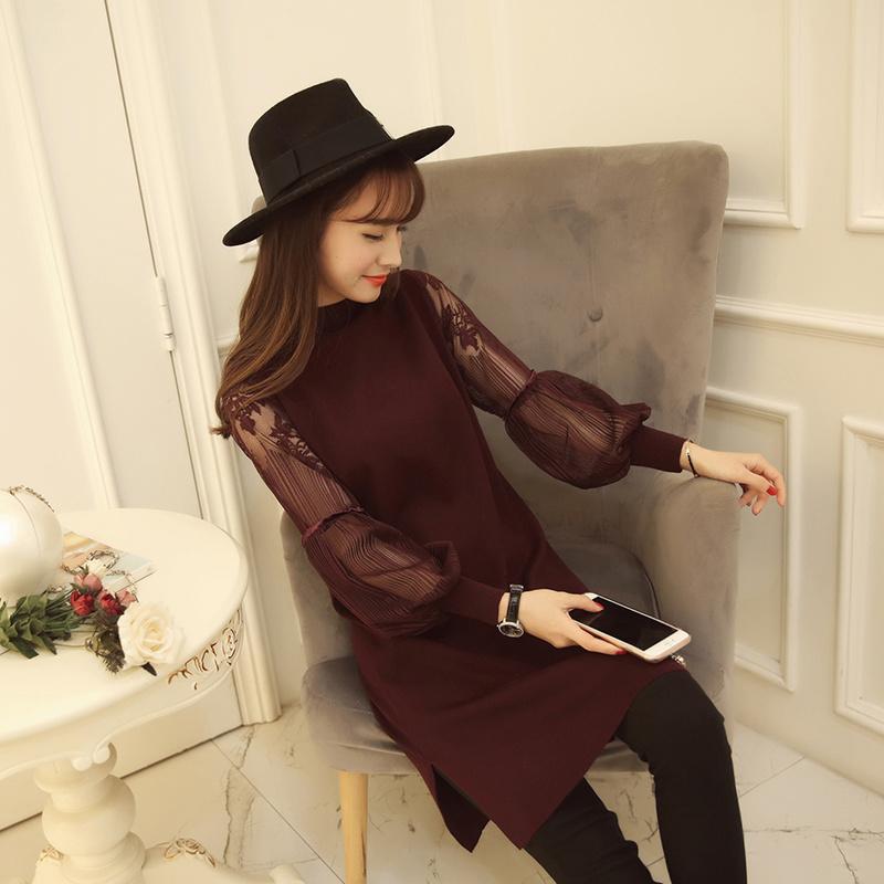 ワンピース / 韓国ファッション ニットワンピース 繊細なレースのシースルーデートにも 高貴な雰囲気漂う大人SEXYな装い レディース服 秋冬 シースルー ニット ワンピース セーター