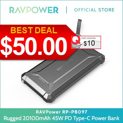 Rugged Power Bank 20100mAh 45W PD Type-C Deals for only Rp615.400 instead of Rp946.769