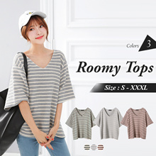 OB DESIGN ★ OBDESIGN ★ ORANGEBEAR ★ V-NECK STRIPED DOLMAN ROOMY TOPS ★ 3 COLORS ★ S-XXXXL SIZE