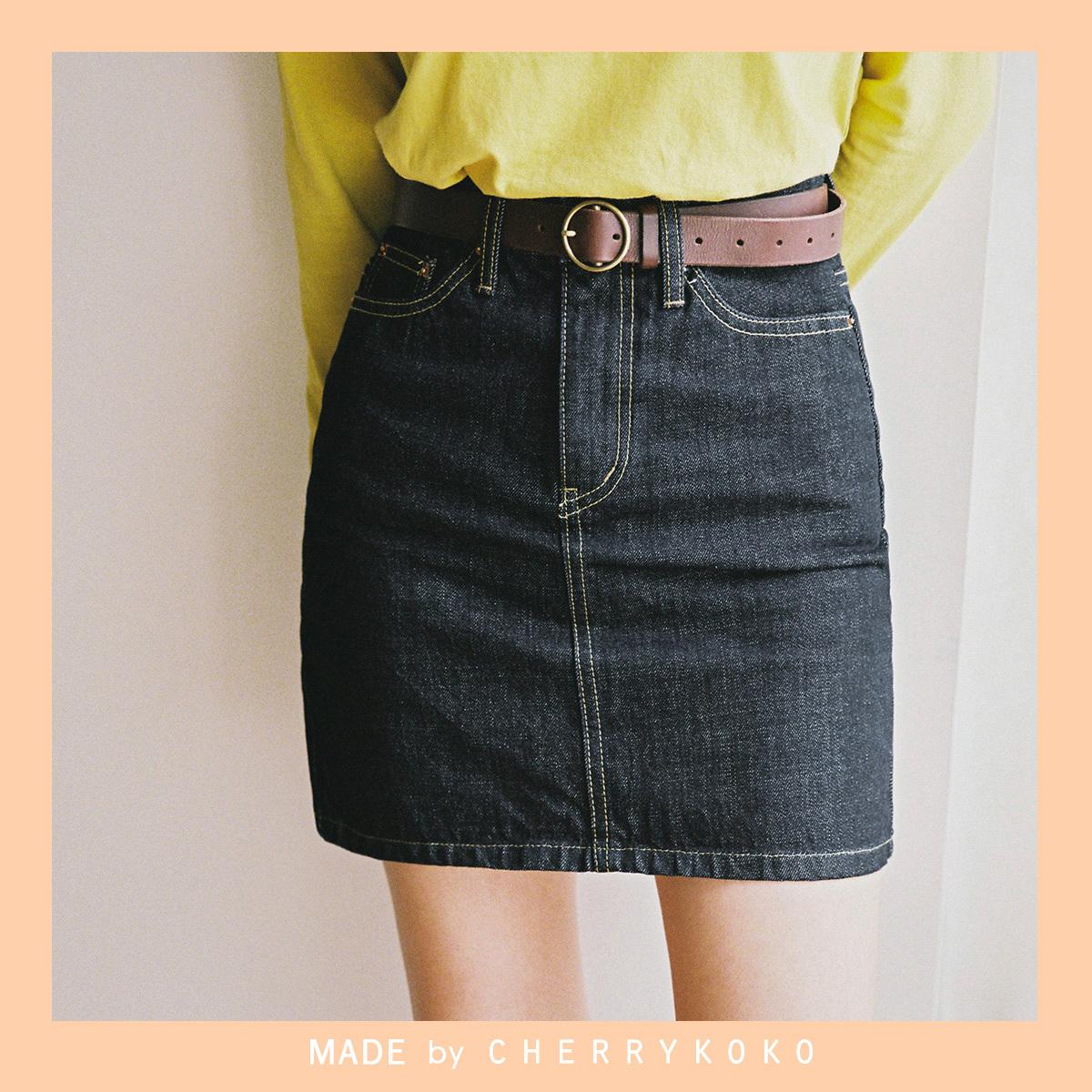 [CHERRYKOKO官方旗艦店]基本款單寧牛仔短裙