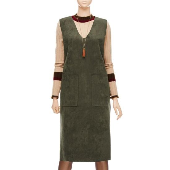 フォーカススルリブリススエードワンピースVFGW1OP4100 面ワンピース/ 韓国ファッション