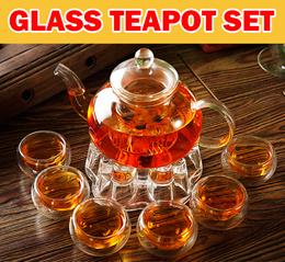 【Glass TeaPot Set】Borosilicate Glass Tea Pot Set/Heat Resistant Glass Teapot  TeaPot Set/Gift Idea