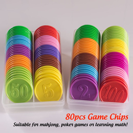 [SG Local] 80pcs Game Chips ★ Mahjong Coin Poker Card Children Learning Math
