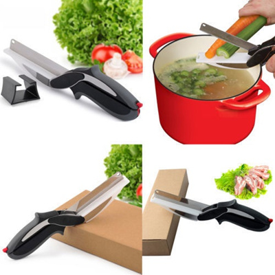 Multifunctional Knife Clever Cutter 2-in-1 Cutting Board Vegetables Scissors New