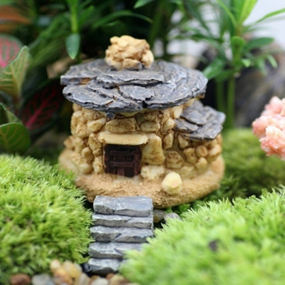 1 PC DIY Stone House Fairy Garden Miniature Craft Micro Cottage Landscape  Decoration For Resin Craft