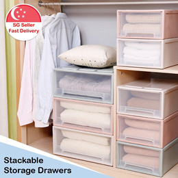 Portable Stackable Plastic Storage Box Cabinet Drawer Container Shelves Organizer Case Wardrobe
