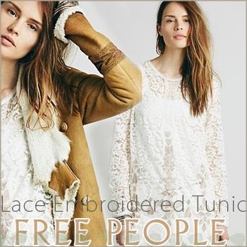【正規品】FREE PEOPLE(フリーピープル)Lace Embroidered Tunic--総レースエンブロイデード チュニックワンピ/ワンピース/花柄レース/ミニワンピ/チュニック【送料無料】【クーポン対象外】【目玉】