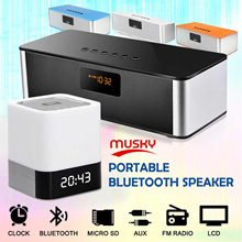 MUSKY Portable Bluetooth Wireless Speaker Hi-Fi FM Radio SD Card Sound Bar Subwoofer MP3 Clock LED