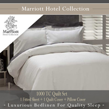 Marriott Hotel Collection 1000 TC Quilt Set - 1 Fitted Sheet + 1 Quilt Cover + Pillow Covers