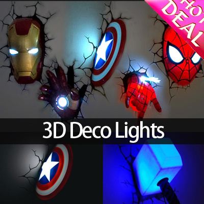 Light Marvel Avengers Emble Led Ceiling Wall Room Night Lights Iron