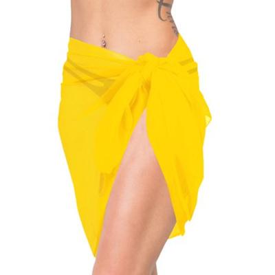 e6a43597e4a11 HAPPY BAY Beach Wrap Women Sarong Half Short Cover up Swimwear Chiffon  Plain Yellow