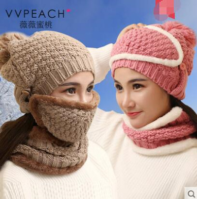 0f7dcd0a678 Winter hat female Korean thick warm wool cap knitted hat lady scarf plus  velvet jacket Baotou