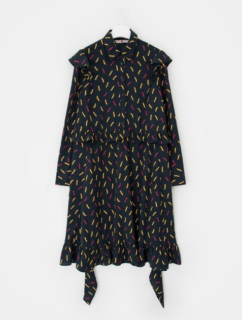 8SECONDS Contrast Pasta Ruffle Dress - Navy