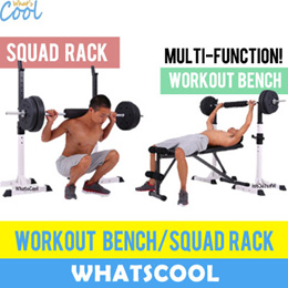 Squat Rack Adjustable Heights Stand Sit Up Bench Barbell Weights Shoulder Squat Gym