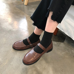 2019 spring Vintage Flats small leather shoes female mary jane single shoes soft sister student japa