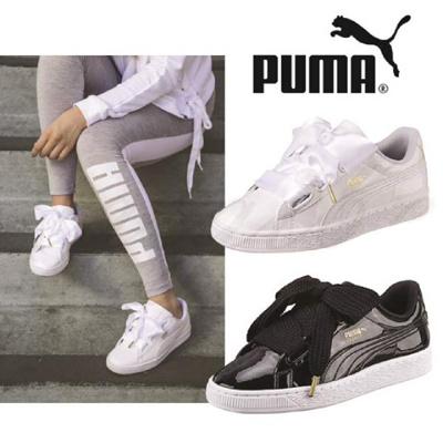 1e3ec417b052a8 ☆Free Gift☆ PUMA / BASKET HEART PATENT WNS / Ribbon Lace-up Shoes