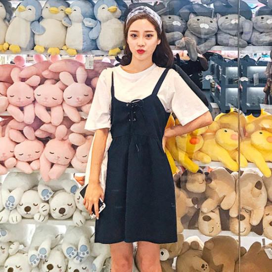 あっかんべーショップ無知アイレットOPS 塔/袖なしのワンピース/ 韓国ファッション