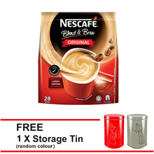 NESCAFE Blend and Brew Original 28 Sticks F.O.C. Tin Canister (Random Colour)