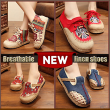 Women Flax Casual Shoes High Quality Summer Cozy Slippers Embroidery Sandals