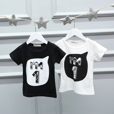 Sale Baby Boys Girls T Shirt Children Letter Birthday Age Printed High Quality Cotton Blends
