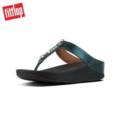 bf61b7b2182b Qoo10 - Fitflop™ Fino Bejewelled Emerald Green Women Flat Sandals ...