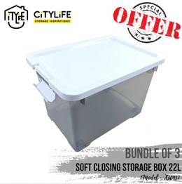 [BUNDLE OF 3] - Citylife Soft Closing Storage Container 22L or 45L ~ S and M size ~