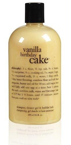 Philosophy Vanilla Birthday Cake Shampoo Shower Gel Bubble Bath 16 Ounces