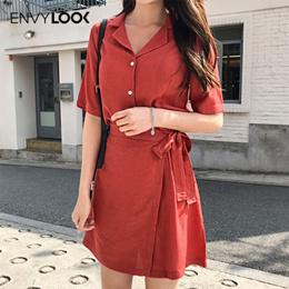 [ENVYLOOK官方旗艦店]夏日腰間綁帶翻領短洋裝