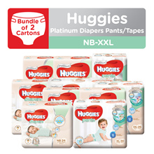 2 Cartons!! HUGGIES Platinum Diapers Tape and Pants