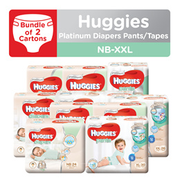 2 Cartons!! HUGGIES Platinum Diapers Tape and Pants - available in all sizes
