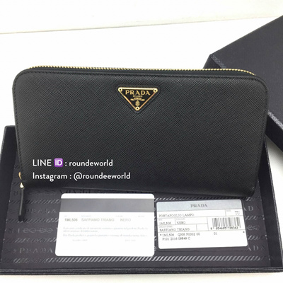 dc2b23cd5cac 【PRADA WALLET】 Prada Saffiano Triangle Leather Wallet 1ML506 - Black ☆ 100%  Authentic
