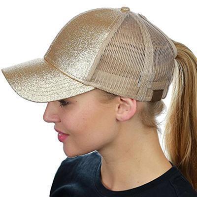 e77aa0add418a Glitter Ponytail Baseball Cap Women Messy Bun Baseball Hat Summer Mesh  Trucker Hat Snapback Girl
