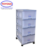 Toyogo Plastic Storage Cabinet / Drawer With Wheels (4 Tier) (807-4)