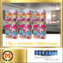 【Onwards Facial Tissue】✦ 100% Pure Pulp ✦ 2 Ply ✦ 200 Sheets per Box ✦ Bundle of 3 ✦