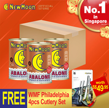 NEW MOON 3 cans SA Braised Abalone 4-6pcs 400g Bundle FREE 1 set WMF Cutlery 4 pcs (Worth $49.95)