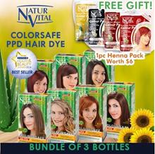 [Bundle of 3] Free HairPack☆女人我最大推荐☆NATURVITAL NO Ammonia-PPD-Resorcinol-Parabens Permanent Hair Dye