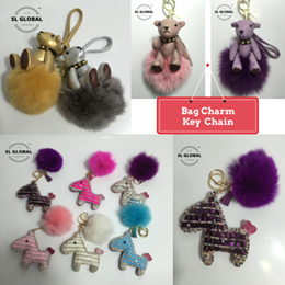 (SG SELLER) leather bear and crystal horse bag Charms and Key-chains