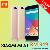 Ready Stock [Buy at RM 949 with RM 120 Coupon Discount] Xiaomi MI A1  4GB RAM + 64GB ROM ( 1 YEAR WARRANTY BY XIAOMI MALAYSIA )