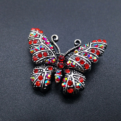 2d04450529fe9 New Arrivals Women Brooches Red Zircon Silver Color Alloy Butterfly Shape  Brooch Pins Women Wedding