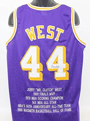 reputable site 5aecf a4dda Qoo10 - Jerry West Autographed Los Angeles Lakers Stat ...