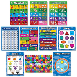 Palace Learning Toddler Learning LAMINATED Poster Kit - 10 Educational Posters for Preschool Kids -