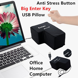 USB Computer Big Enter Key Anti Stress Button USB Pillow Slow Rising Unbreakable Office Home Toys