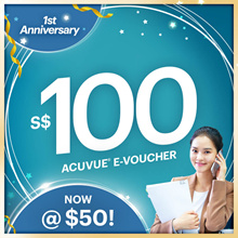 ACUVUE® $100 voucher at $50 only! 🔶 USE SHOP COUPON 🔶 1 Day only Limited Qty!