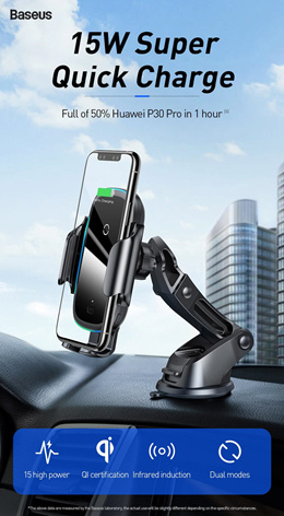 Baseus Wireless Charging Car Mount Charger Desktop Phone Holder Car Accessories Free Cable