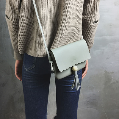 79f1b42318ae Cute Women Girls Mini Shoulder Bag PU Leather Bead Fringed Tassels Small  Crossbody Bag Grey