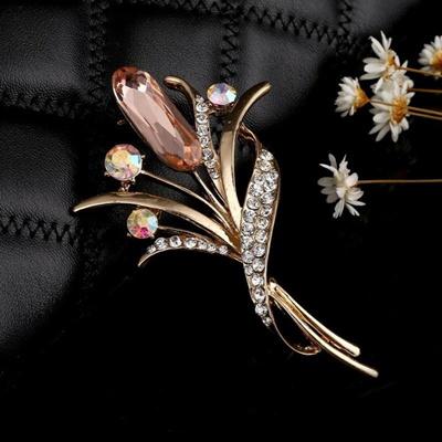 Elegant 2016 New Fashion Tulip Brooch Full Rhinestone Enamel Flower Brooches Pins For Women Wedding