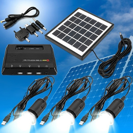 Newest Solar Energy 6V 4W Solar Panel+5V 1000mAh Solar Power Bank USB Charger+3pcs 3.7V  LED Lights
